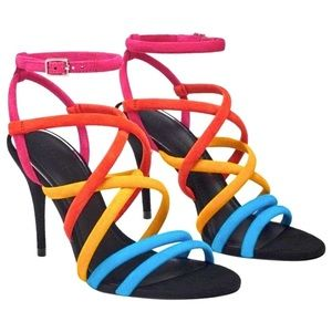 Zara Multicolor Rainbow Leather Suede Sandal PRIDE
